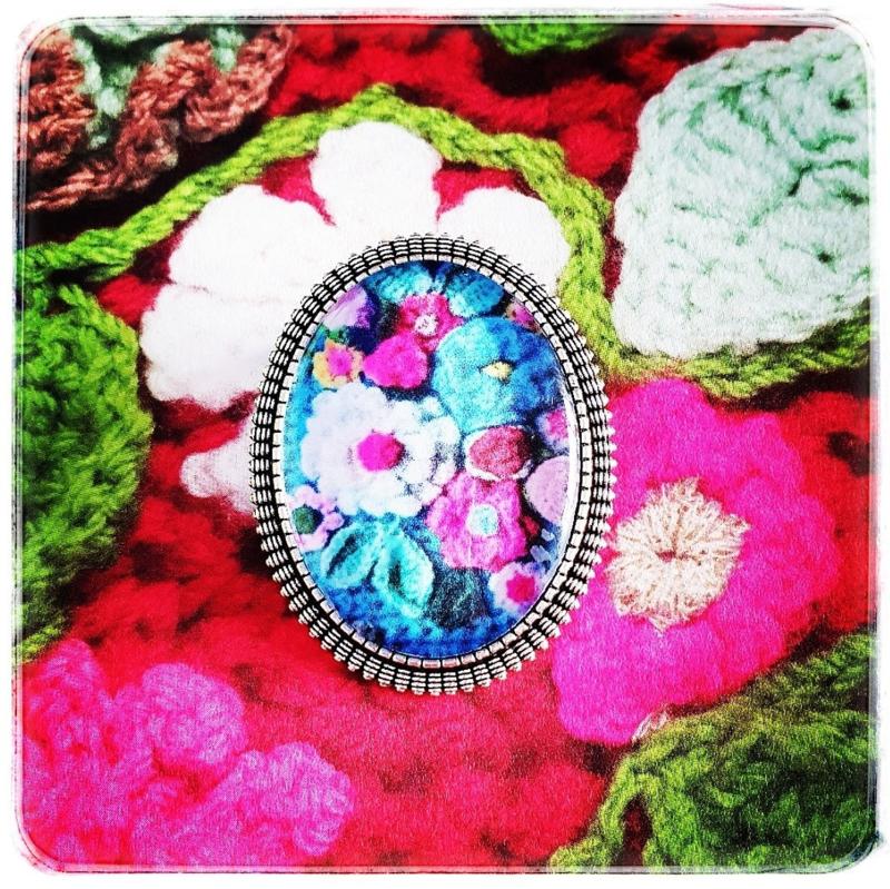 Broche - Gehaakte bloemen in blauw - Adinda's World