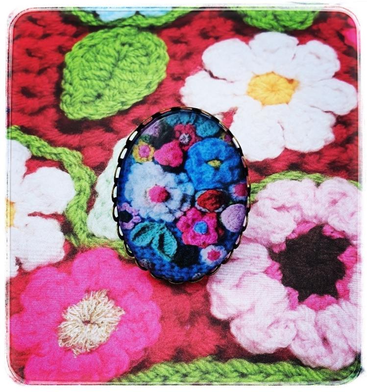 Ring - Gehaakte bloemen in blauw - Adinda's World
