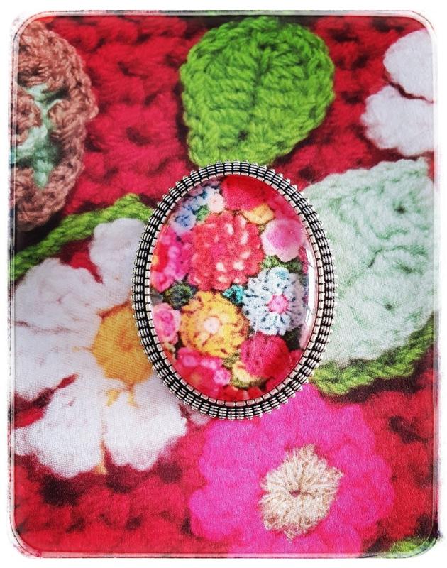 Broche - Gehaakte bloemen in roze - Adinda's World
