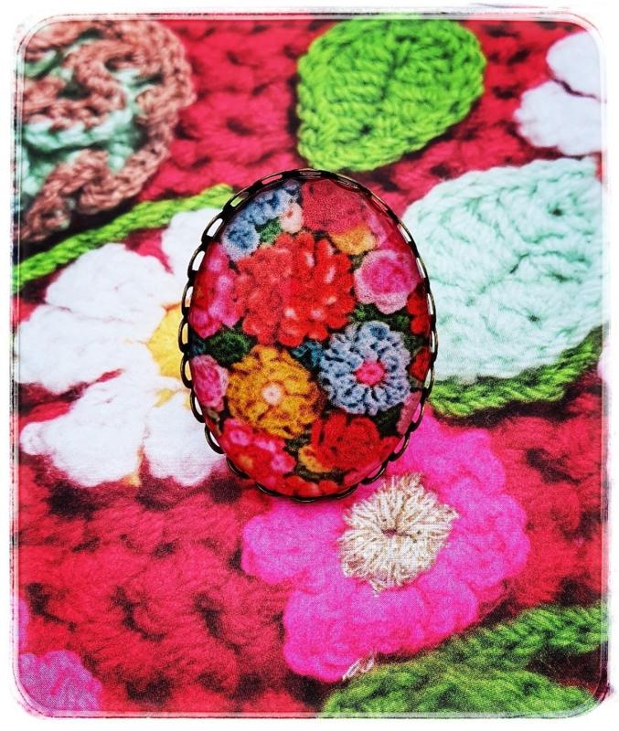 Ring - Gehaakte bloemen in roze - Adinda's World