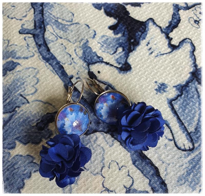 Oorbellen - Korenbloem met bloemenhangers