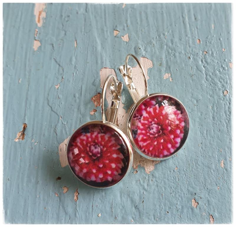 Oorbellen - Dahlia roze/rood