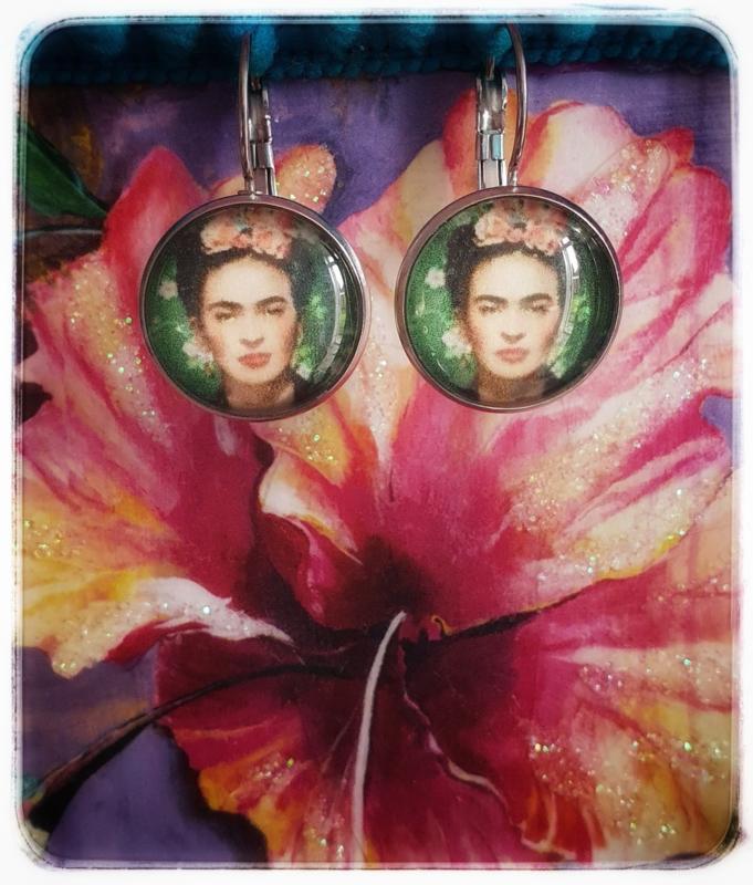 Oorbellen - Frida Kahlo - Emerald green rond