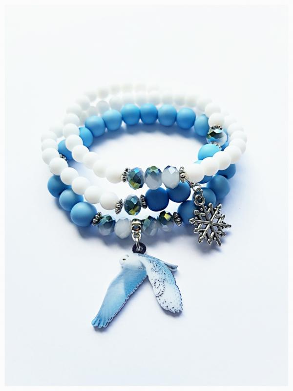 Armbanden setje van 3 - Sneeuwuil