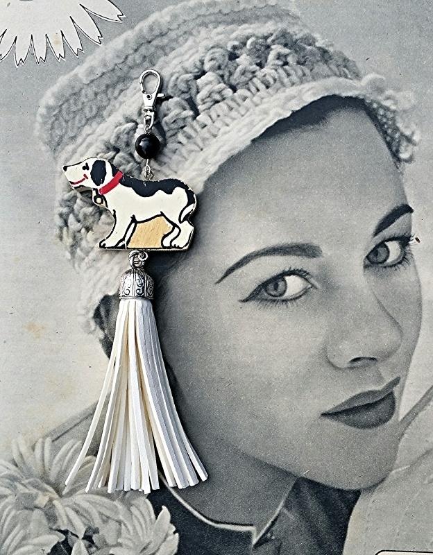 Vintage happy dog ivoor wit