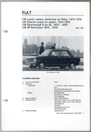 Fiat 128  Vraagbaak ATH 73-76 #2 Nederlands