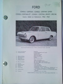 Ford Consul Cortina  Vraagbaak ATH 62-63 #1 Nederlands