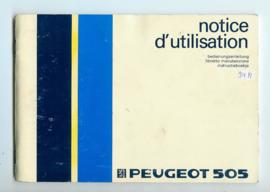 Peugeot 505  Instructieboekje 84 #2 Nederlands Duits Frans Italiaans
