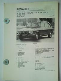 Renault 16  Vraagbaak ATH 70-72 #1 Nederlands