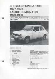 Chrysler Simca 1100  Vraagbaak ATH 79-80 #1 Nederlands