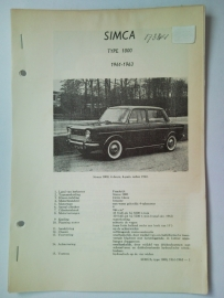 Simca 1000  Vraagbaak ATH 61-63 #1 Nederlands