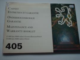 Peugeot 405  Onderhoudsboekje 95 #1 Nederlands Frans Engels