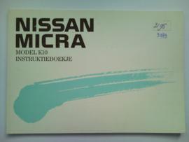 Nissan Micra Model K10 Instructieboekje 89 #1 Nederlands