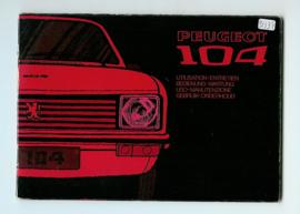Peugeot 104  Instructieboekje 72 #1 Nederlands Duits Frans Italiaans