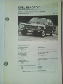 Opel Rekord D  Vraagbaak ATH 72 #2 Nederlands