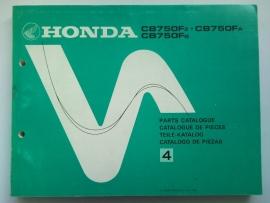 Honda CB750F  Onderdelenboek 80 #1 Engels Frans Duits Spaans