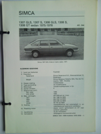 Simca 1307 1308  Vraagbaak ATH 75-78 #1 Nederlands