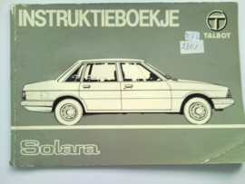 Talbot Solara  Instructieboekje 81 #1 Nederlands