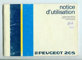Peugeot 205  Instructieboekje 84 #1 Nederlands Duits Frans Italiaans