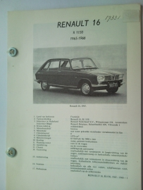 Renault 16  Vraagbaak ATH 65-66 #1 Nederlands