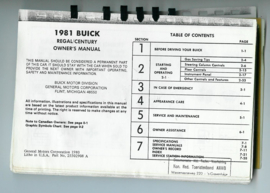 Buick Century Regal  Instructieboekje 81 #1 Engels