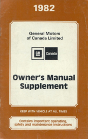 General Motors  Supplement Instructieboekje 82 #1 Engels