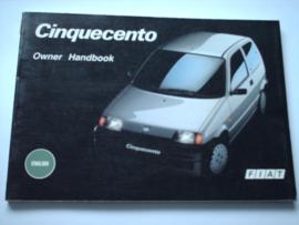 Fiat Cinquecento  Instructieboekje 92 #1 Engels
