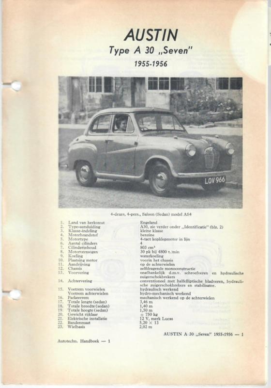 Austin A30 Seven  Vraagbaak ATH 55-56 #1 Nederlands
