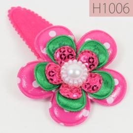 Haarknipje bloem - fuchsia roze / groen