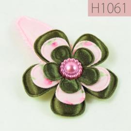 Haarknipje bloem - roze/legergroen