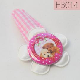 Haarknipje flatback - hondjes wit/roze