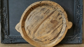 Oude houten schaal L