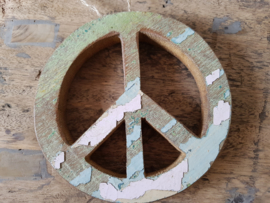 Peace teken hout gekleurd