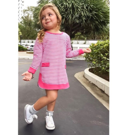 Shirtjurk roze/wit gestreept