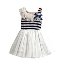 A-Symetrisch jurk blauw/wit