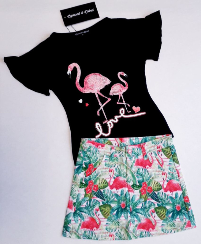 "2-delig setje ""Flamingo"" zwart"