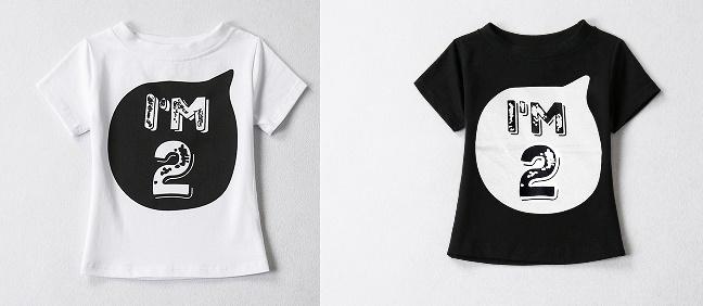 """T-Shirt """"I am 2"""" wit en zwart"""