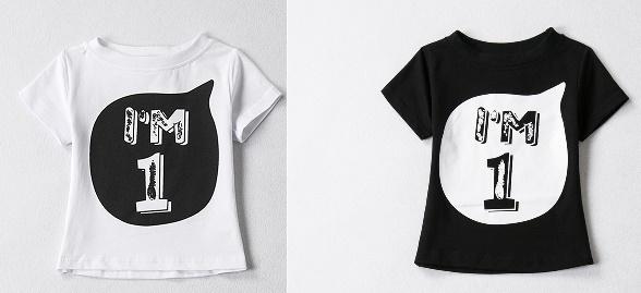 """T-Shirt """"I am 1"""" wit en zwart"""