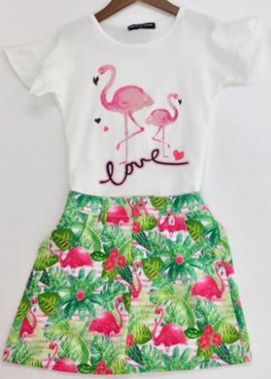 """2-delig setje """"Flamingo"""" wit"""