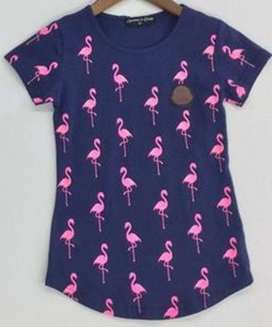 """T-Shirt """"flamingo"""" donkerblauw"""