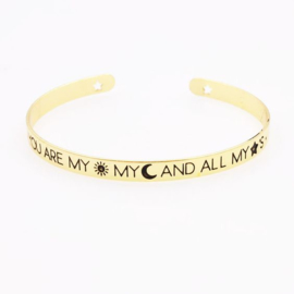 Armband - Quote Cuff Bracelet - Wish - Silver