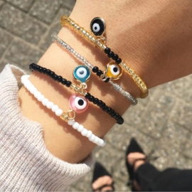 Armband - Evil Eye Silver & Yellow