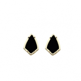 Oorbellen - Earstuds - Kite Black Gold Plated