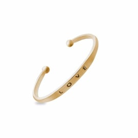 Armband - Quote Cuff Bracelet - Love - Gold