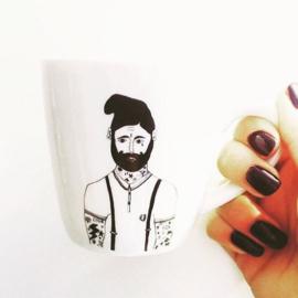 Koffiemok - Tattoo man mug by Helen B