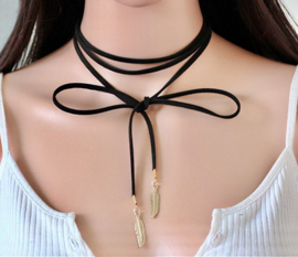 Ketting - Feather Suede Choker Black