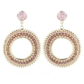 Oorbellen -  Golden Circle - Pink
