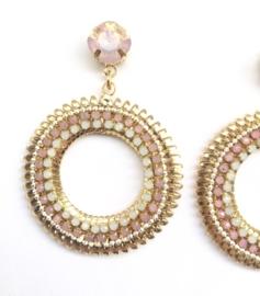 Oorbellen -  Golden Circle - Pink