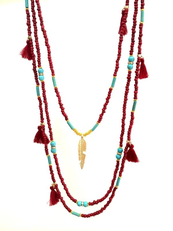 Summer Collection - Necklace - Red & Golden Feather