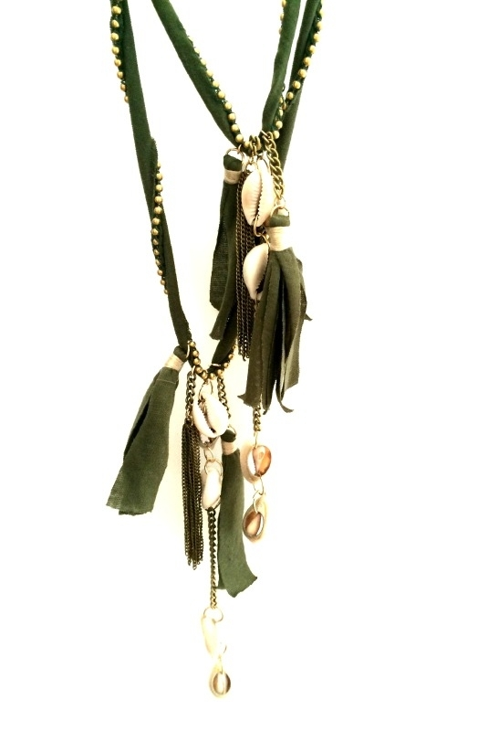 Summer Collection - Necklace - Boho Shell Green